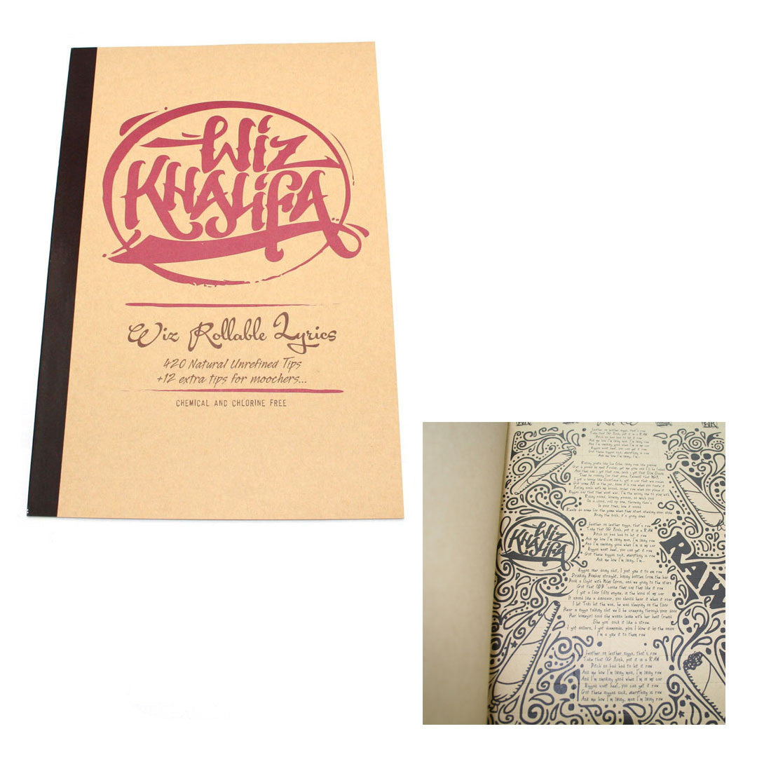 RAW Wiz Khalifa Rollable Lyrics Book of Tips  (48 tips per page, 9 pages per book)