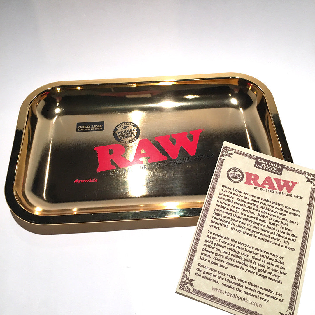 Raw Rolling Tray 24k Gold Prisma Labs