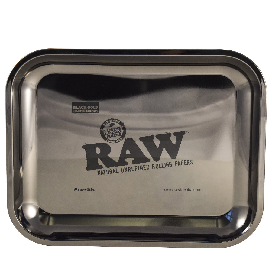 RAW Rolling Tray Black Gold