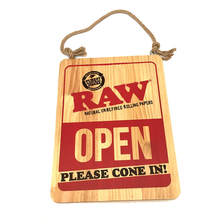 "RAW Wooden Sign  ""OPEN / CLOSED"""