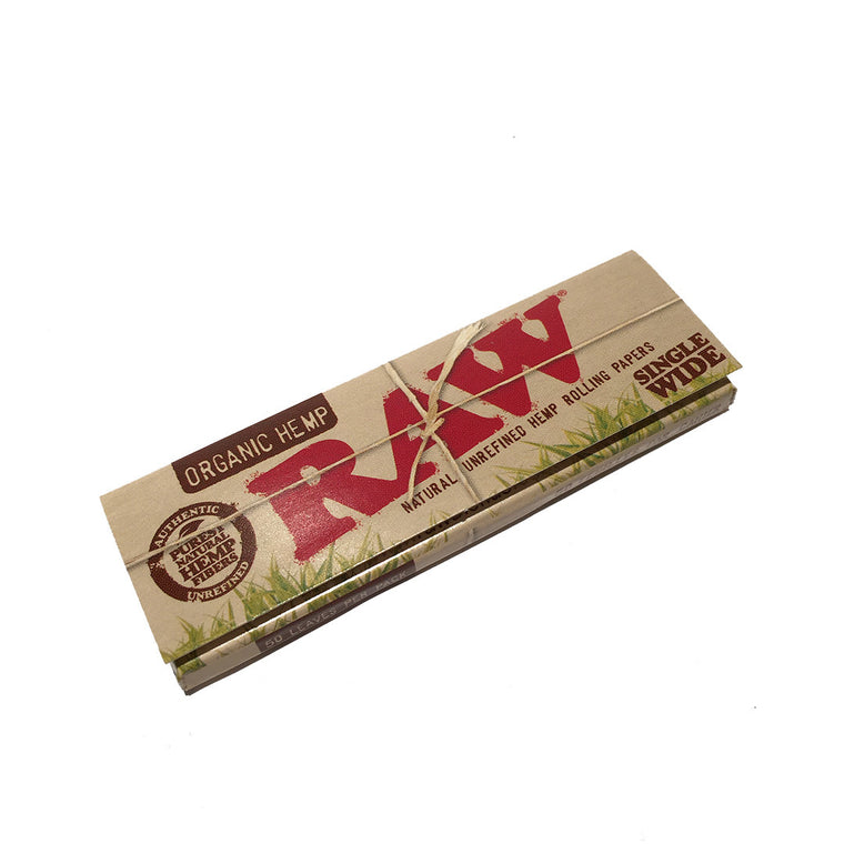 RAW Unrefined Organic Hemp Paper Single Wide,  50 per pack