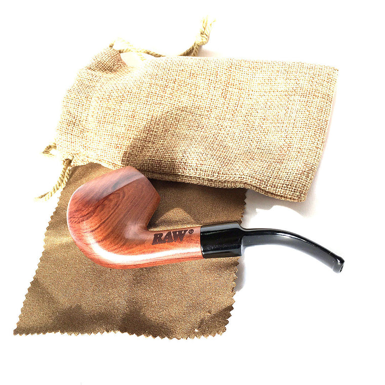 RAW Wooden Pipe with Cloth Bag (Bubinga Wood)