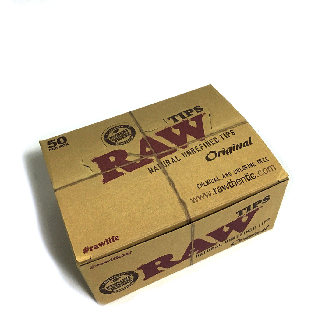 RAW Unbleached Roll-Up Tips - Full Box (50 Packs per Box)