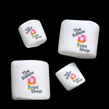 Round Marshmallows printed with a logo
