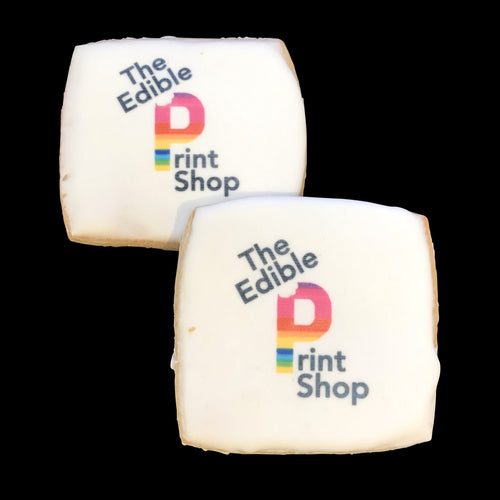 Square sugar cookies with a full color logo printed