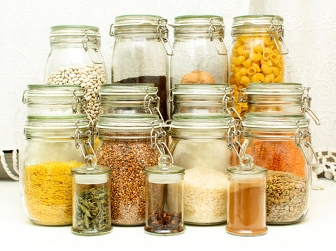 Prepared and stored dry food for emergency situations.