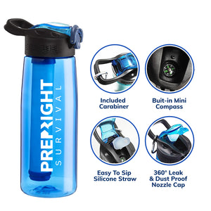 Prep-Right Survival Water Filter Bottle Lid features: Included Carabiner, Built-in Mini Compass, Easy to Sip Silicone Straw, 360 degree leak and dust proof nozzle cap