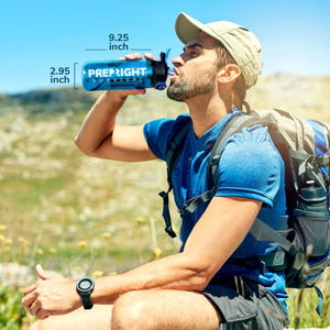 Hiker drinking from Prep-Right Survival Water Filter Bottle measuring at 9.25 inches long by 2.95 inches wide