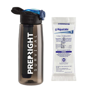 Prep-Right Survival Water Filter Bottle in Black For Clean Water Plus 50 Count Aquatabs Water Purification Tablets