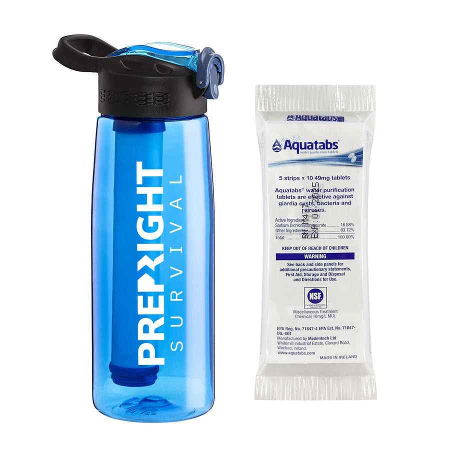 Prep-Right Survival Water Filter Bottle in Blue For Clean Water Plus 50 Count Aquatabs Water Purification Tablets