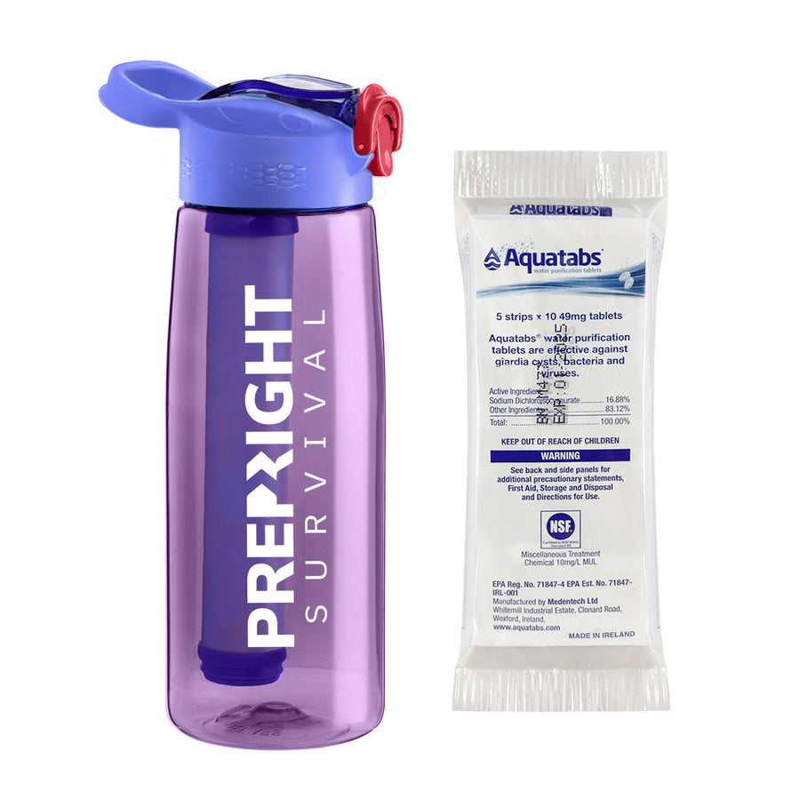 Prep-Right Survival Water Filter Bottle in Purple For Clean Water Plus 50 Count Aquatabs Water Purification Tablets