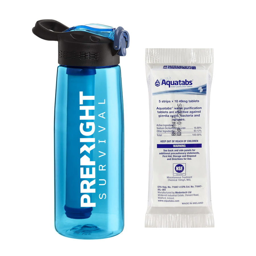 Prep-Right Survival Water Filter Bottle in Teal For Clean Water Plus 50 Count Aquatabs Water Purification Tablets