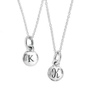 Tiny Monogram Charm Necklace in Gold or Silver
