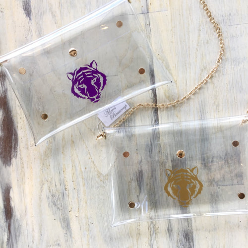 Tiger Face Clear Purse in Purple or Gold