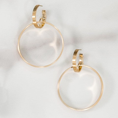 Brushed Gold Double Hoops