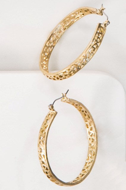 Filigree Design Hoops in Gold