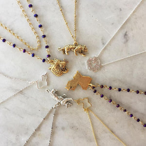 Louisiana State Small Outline Necklace in Gold or Silver