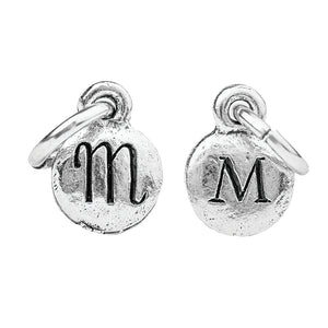 Tiny Silver Two Sided Monogram Charm