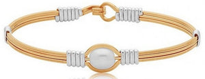 """Pearl of My Heart"" Ronaldo Bracelet - Gold with Silver Wraps"