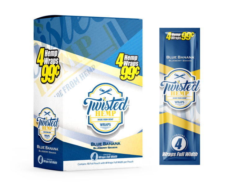 Twisted Hemp Wraps | Blueberry Banana Unit pack. (4 leaves per pouch)