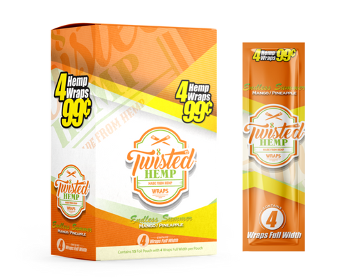 Twisted Hemp Wraps | Mango Pineapple Unit pack. 4 leaves