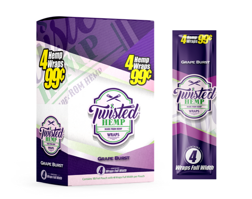 Twisted Hemp Wraps | Grape Burst unit pack. 4 leaves