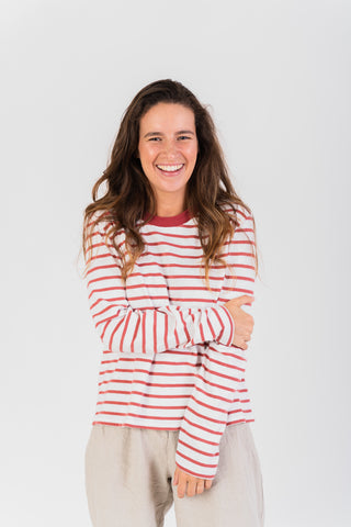 Pavia Long Sleeve T-shirt Stripped Red