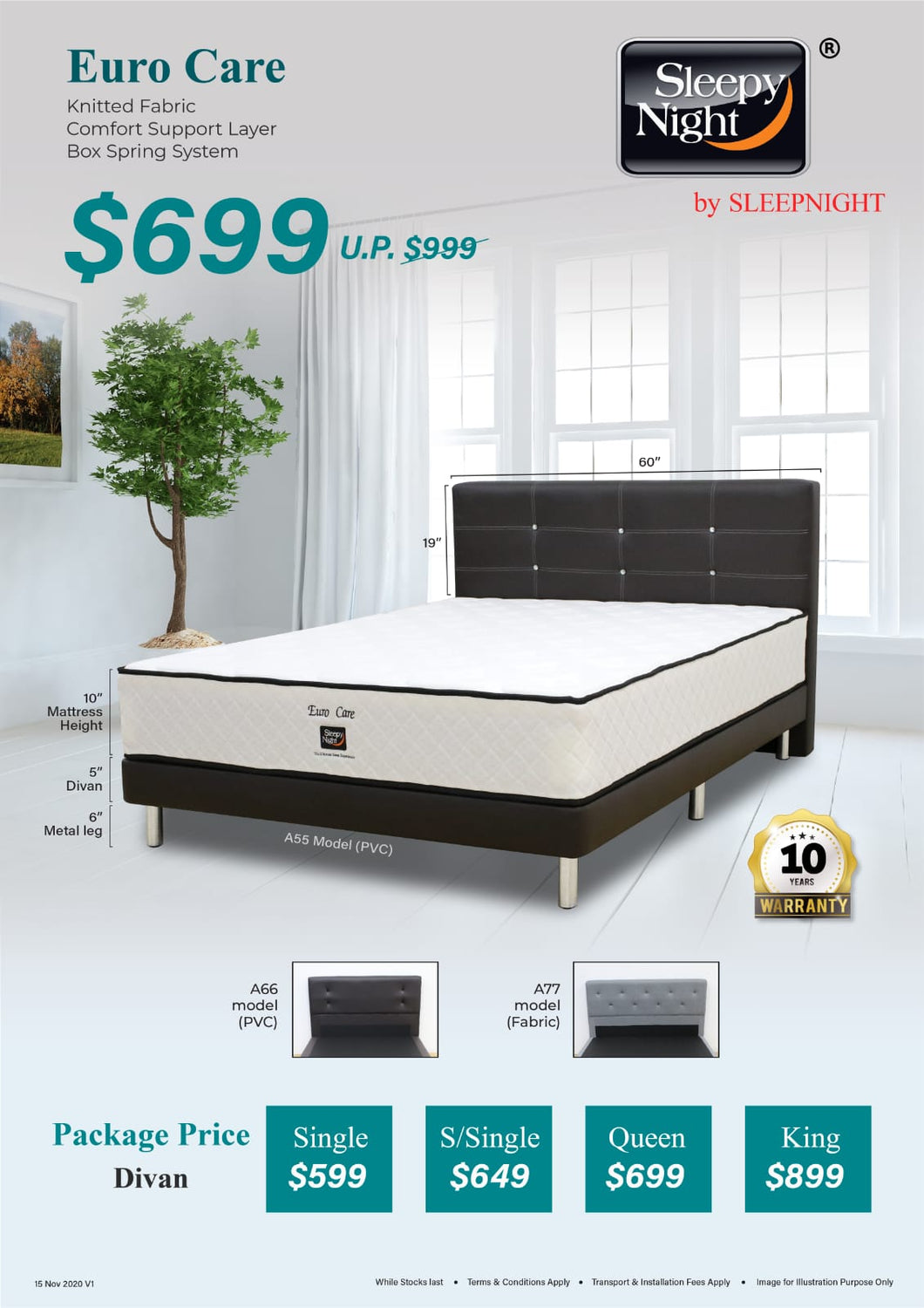 Sleepynight Eurocare Pocketed Spring Mattress Package