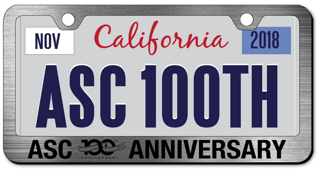 ASC 100th License Plate Frame