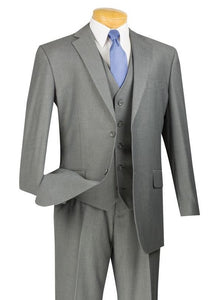 Wedding Suit with Vest Men's Medium Gray Flat Front Pants V2TR
