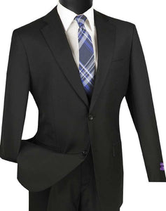 Men's Black Suit with Flat Front Pants Vinci 2C900-2