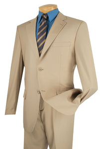 Men's Solid Beige Color Business Suit Flat Front Pants 2C900-2