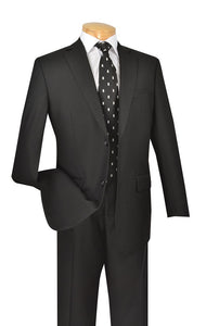 Formal Black Suit for Men with Pleated Pants 2 Piece 2TR