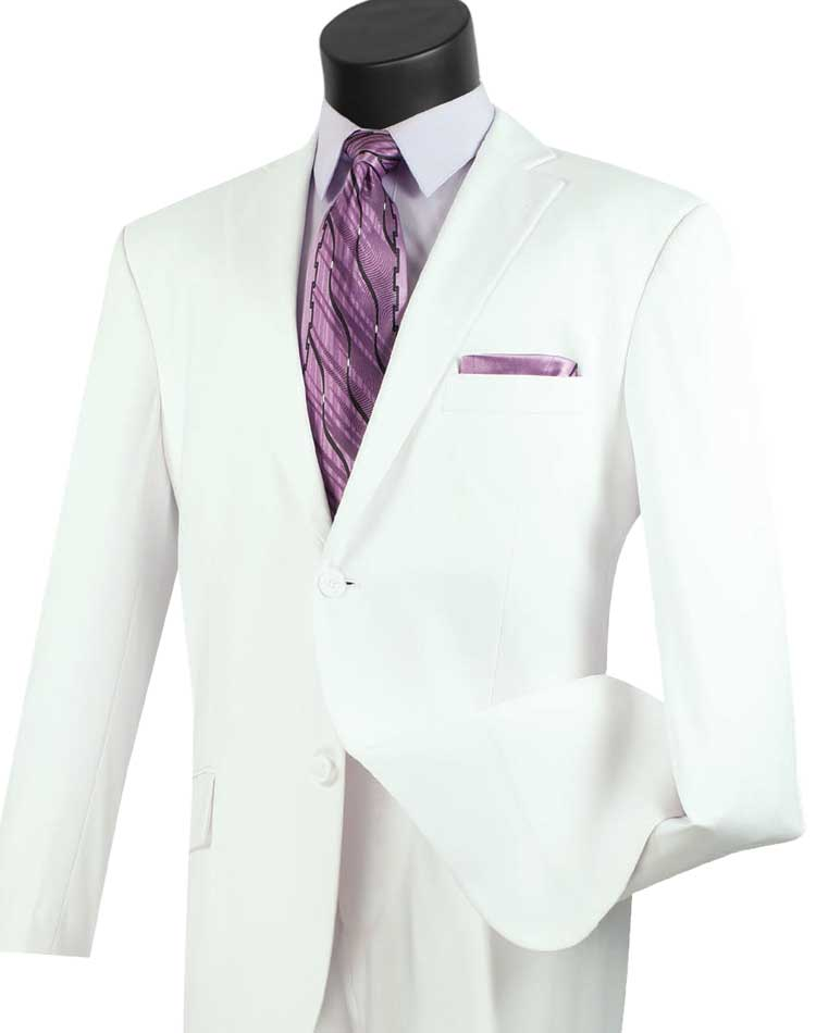 All White Suit for Men with Pleated Pants 2 Piece 2TR