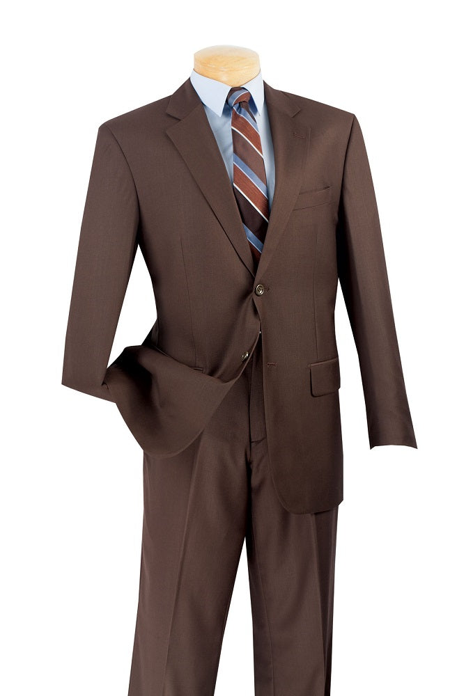 Men's Solid Brown Color Business Suit Flat Front Pants 2C900-2