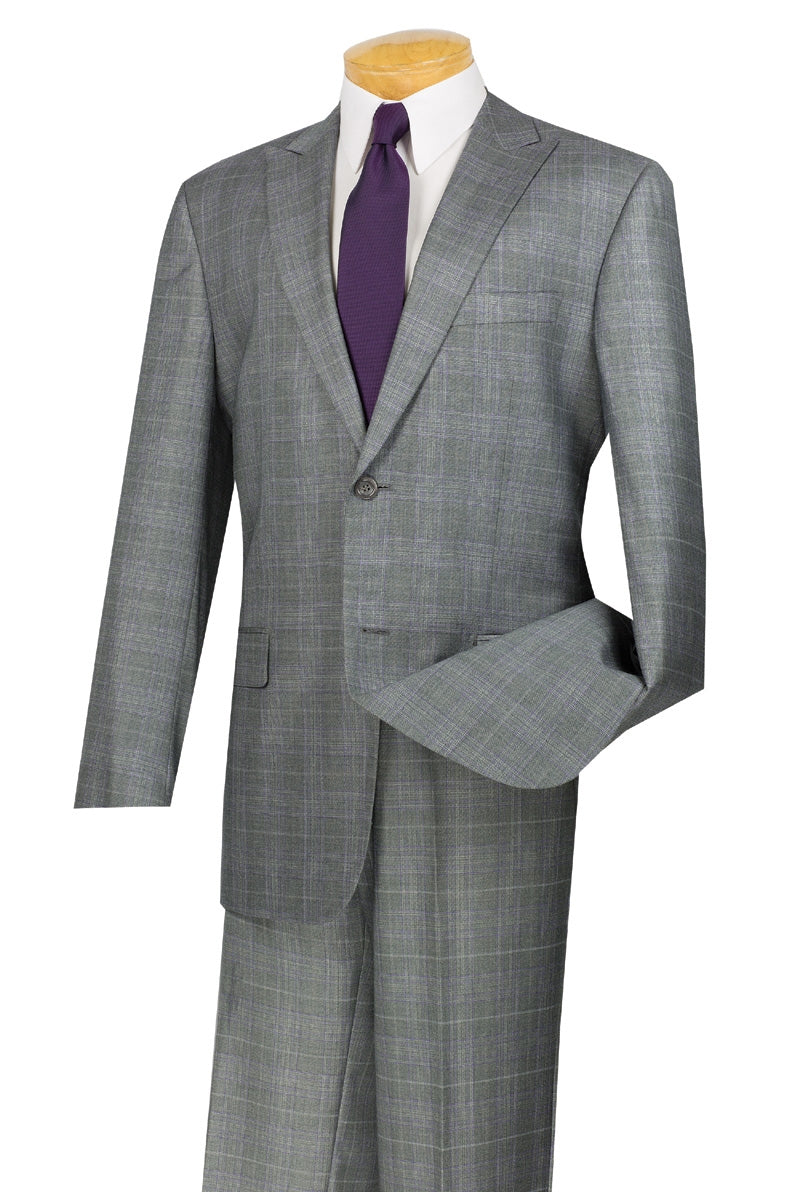 Men's Gray Glen Plaid Executive Suit 2RW-1