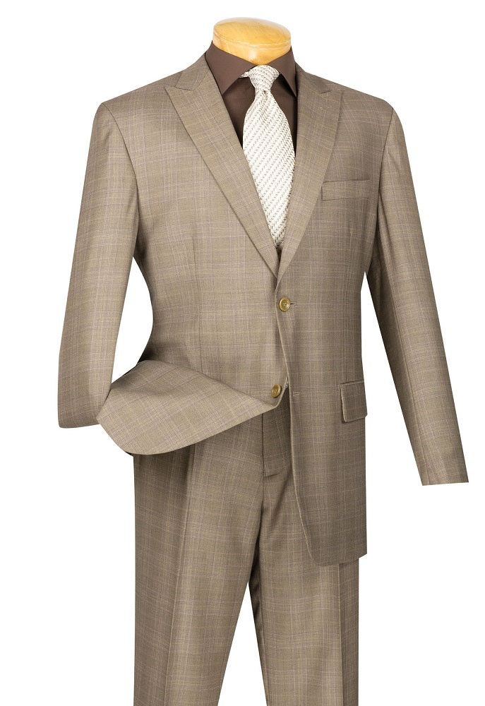 Men's Tan Glen Plaid Executive Suit Classic Fit 2RW-1