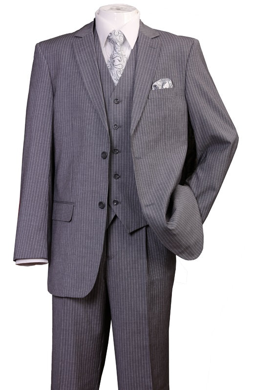 Men's 3 Piece Gray Narrow Pinstripe Suit Regular Fit Fortini 5702V8