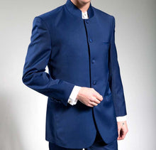 Load image into Gallery viewer, Men's Blue Chinese Mandarin Collar Suit 5HT