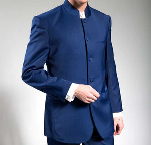 Men's Blue Chinese Mandarin Collar Suit 5HT