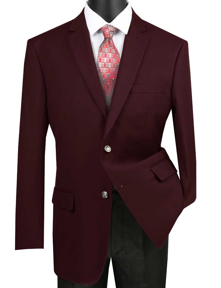 Burgundy Sport Coat for Men Metal Button Classic Blazer Vinci B-TR