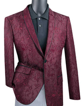 Load image into Gallery viewer, Men's Slim Fit Burgundy Flower Tuxedo Jacket Blazer BSF-10