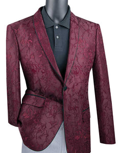 Men's Slim Fit Burgundy Flower Tuxedo Jacket Blazer BSF-10
