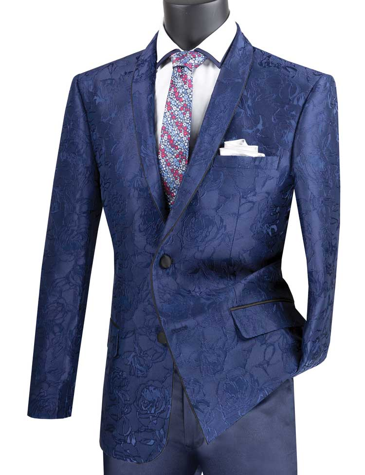 Men's Slim Fit Blue Flower Tuxedo Jacket Blazer BSF-10