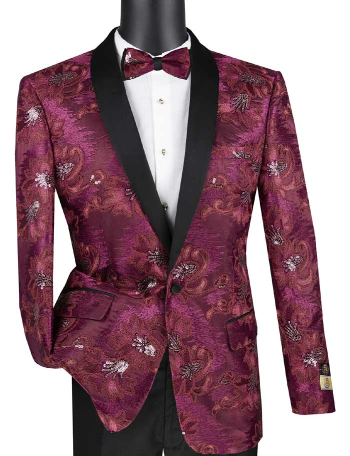Men's Slim Fit Burgundy Embroidered Prom Tuxedo Jacket Blazer BSF-13