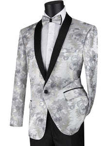 Men's Slim Fit Silver Embroidered Prom Tuxedo Jacket Blazer BSF-13