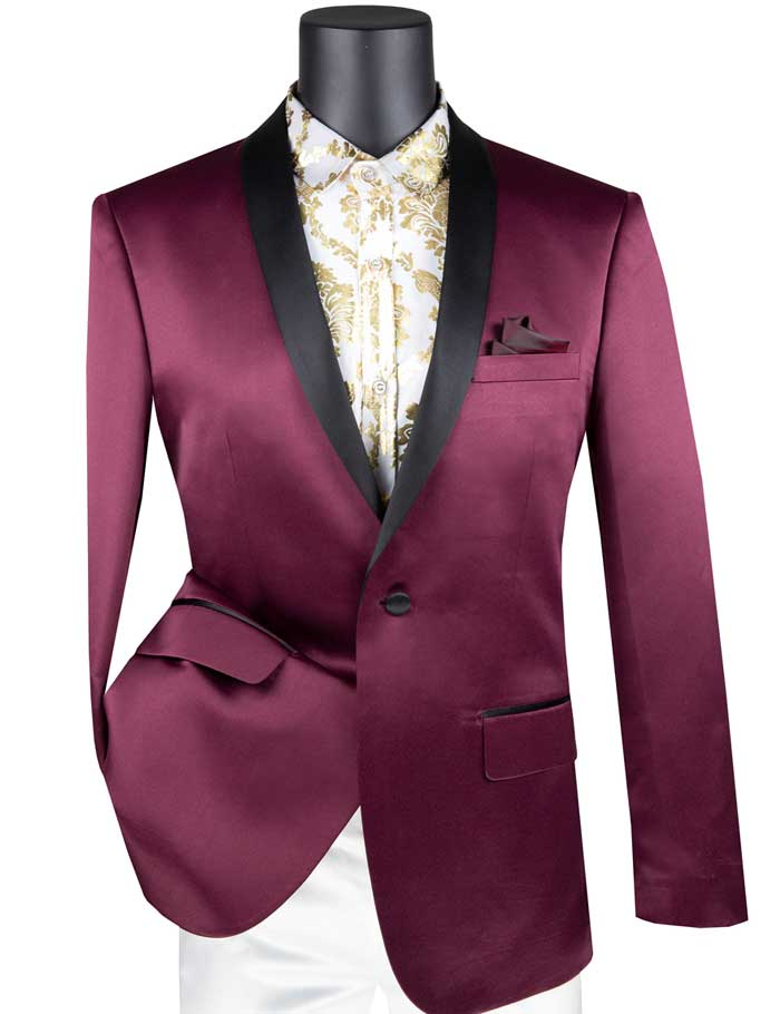 Men's Burgundy Satin Slim Fit Tuxedo Jacket Fashion Blazer BST-1