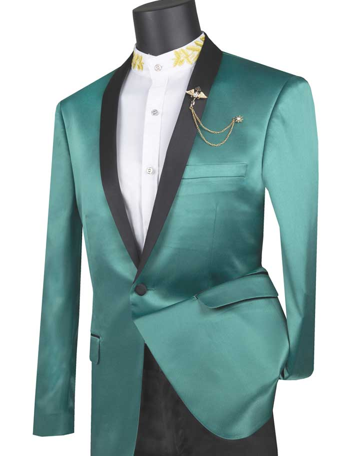 Men's Green Satin Slim Fit Tuxedo Jacket Fashion Blazer BST-1
