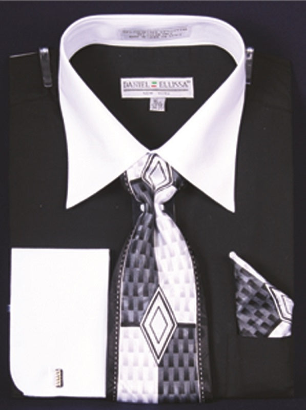 Men's Black White French Cuff Dress Shirt Tie Set DE DS3006WPRT
