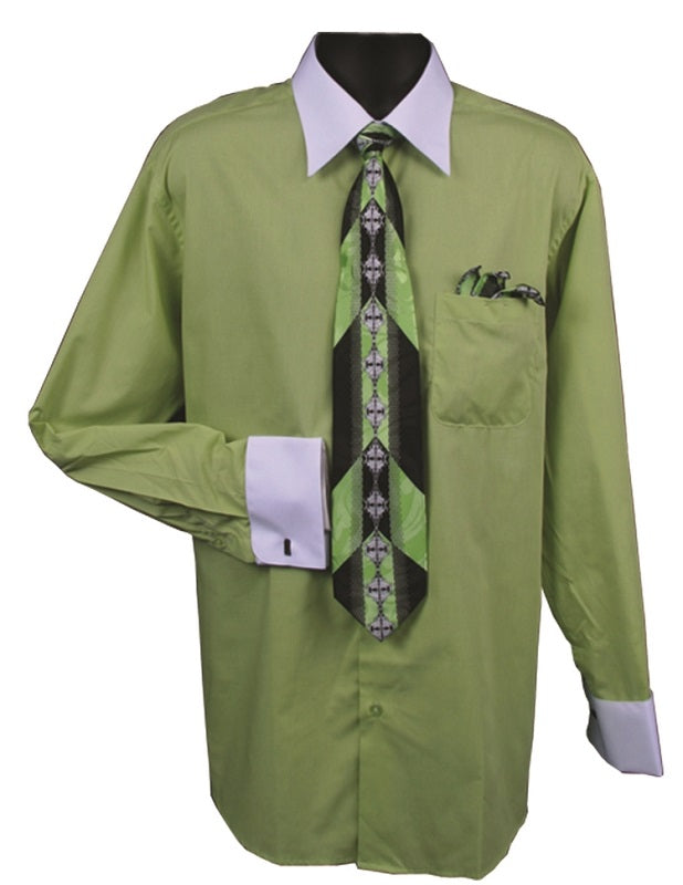 Men's Lime White Collar French Cuff Dress Shirt Tie Set DE DS3006WTPRT